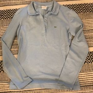 Lacoste baby blue long sleeve you collar size 40